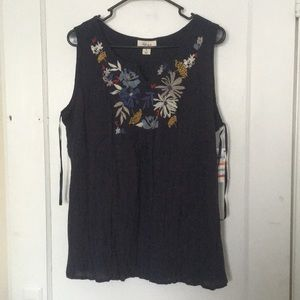 Style and Co Embroidered Tank Top Size Small